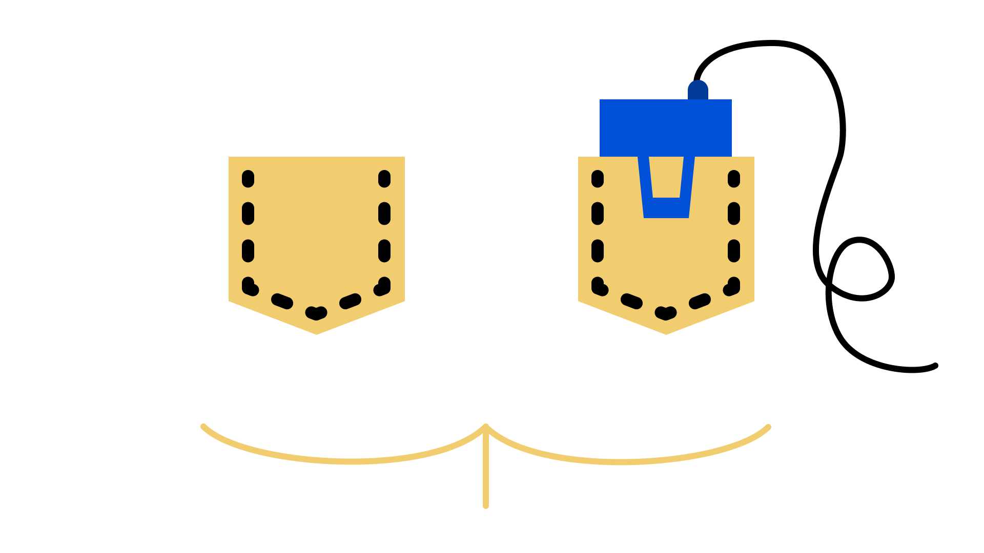 Illustration of butt with a microphone battery pack in the back pocket